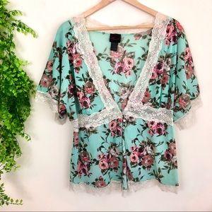 Torrid Floral Print & Lace Short Sleeve Cardigan
